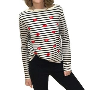 Betsey Johnson New Kiss Striped Pullover Knit Top